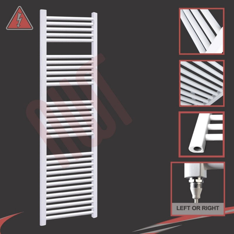 500mm (w) x 1800mm (h) Electric Straight White Towel Rail (Single Heat or Thermostatic Option)