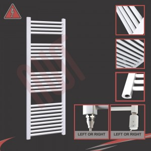 """600mm (w) x 1500mm (h) Electric """"Straight White"""" Towel Rail (Single Heat or Thermostatic Option)"""