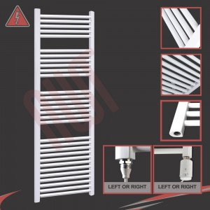 600mm (w) x 1800mm (h)  Electric Straight White Towel Rail (Single Heat or Thermostatic Option)