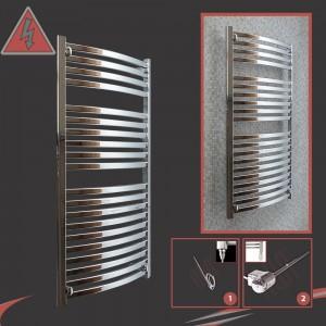 500mm x 1100mm Single Heat Ellipse Chrome Towel Rail