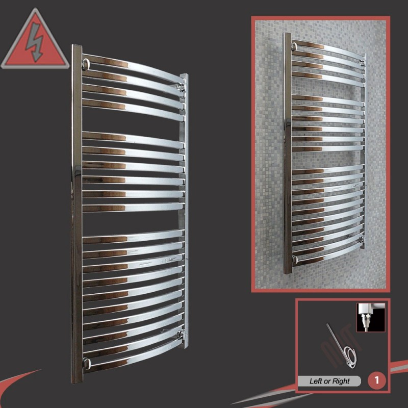 500mm x 1100mm Single Heat Ellipse Chrome Towel Rail