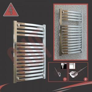 600mm x 800mm Single Heat Ellipse Chrome Towel Rail
