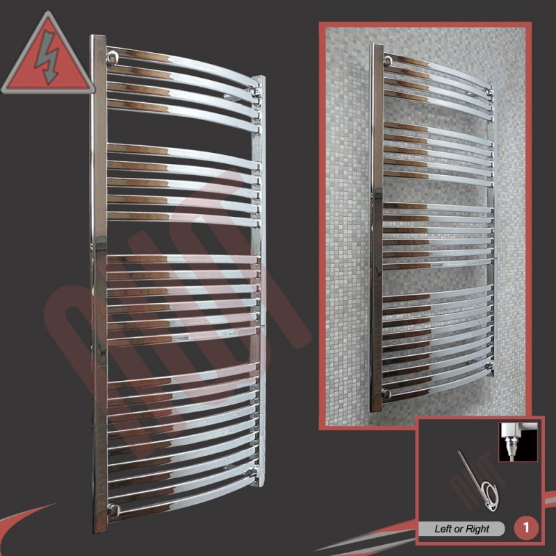 600mm x 1400mm Single Heat Ellipse Chrome Towel Rail