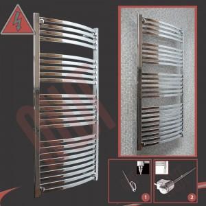 600mm x 1400mm Single Heat Ellipse Chrome Towel Rail