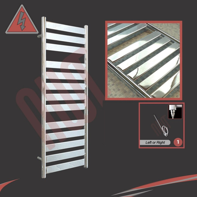 500mm (w) x 1300mm (h) Electric Ruthin Chrome Towel Rail (Single Heat or Thermostatic Option)
