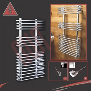 "500mm (w) x 900mm (h) Electric ""Neath"" Chrome Towel Rail (Single Heat or Thermostatic Option)"