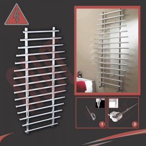 "700mm (w) x 1200mm (h) Electric ""Barmouth"" Chrome Towel Rail (Single Heat or Thermostatic Option)"