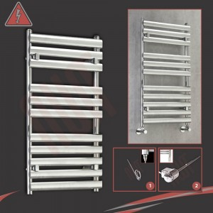 "500mm (w) x 930mm (h)Electric ""Brecon"" Chrome Designer Towel Rail (Single Heat or Thermostatic Option)"