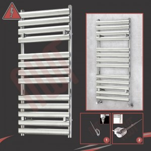 "500mm (w) x 1200mm (h)Electric ""Brecon"" Chrome Designer Towel Rail (Single Heat or Thermostatic Option)"