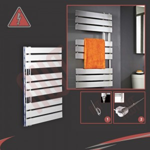 "500mm (w) x 800mm (h) ""Apollo"" Electric Chrome Designer Towel Rail (Single Heat or Thermostatic Option)"