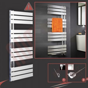 500mm (w) x 1200mm (h) Apollo Electric Chrome Designer Towel Rail (Single Heat or Thermostatic Option)