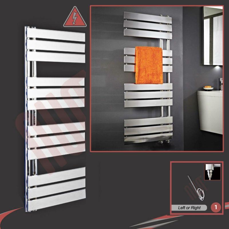 Flat Designer Thermostatic Electric Heating Heated: 500mm X 1200mm Apollo Electric Chrome Designer Towel Rail