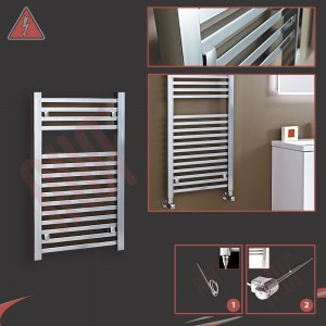 500mm (w) x 800mm (h) Atlas Electric Chrome Designer Towel Rail (Single Heat or Thermostatic Option)