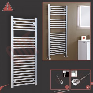 "500mm (w) x 1200mm (h) ""Atlas"" Electric Chrome Designer Towel Rail (Single Heat or Thermostatic Option)"