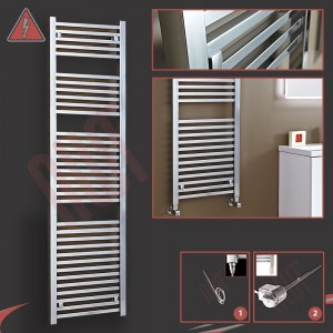 "500mm (w) x 1800mm (h) ""Atlas"" Electric Chrome Designer Towel Rail (Single Heat or Thermostatic Option)"