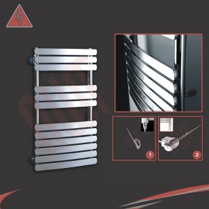 "500mm (w) x 800mm (h) ""Castell"" Electric Chrome Designer Towel Rail (Single Heat or Thermostatic Option)"