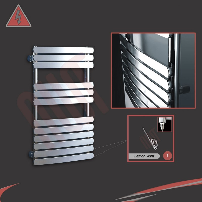 """500mm (w) x 800mm (h) """"Castell"""" Electric Chrome Designer Towel Rail (Single Heat or Thermostatic Option)"""