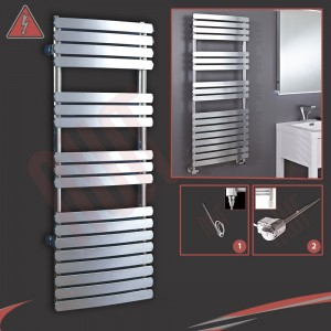 "500mm (w) x 1200mm (h) ""Castell"" Electric Chrome Designer Towel Rail (Single Heat or Thermostatic Option)"