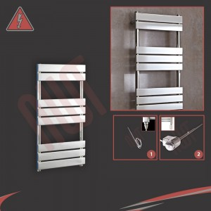 "500mm (w) x 950mm (h) ""Vega"" Electric Chrome Designer Towel Rail (Single Heat or Thermostatic Option)"