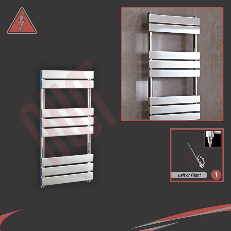500mm (w) x 950mm (h) Vega Electric Chrome Designer Towel Rail (Single Heat or Thermostatic Option)