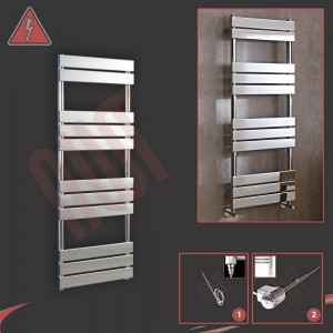 "500mm (w) x 1350mm (h) ""Vega"" Electric Chrome Designer Towel Rail (Single Heat or Thermostatic Option)"