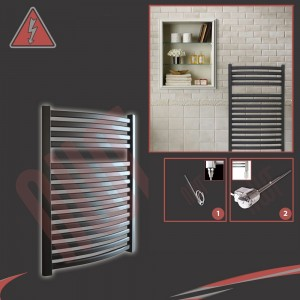 "600mm (w) x 800mm (h) Electric ""Ellipse"" Black Towel Rail (Single Heat or Thermostatic Option)"