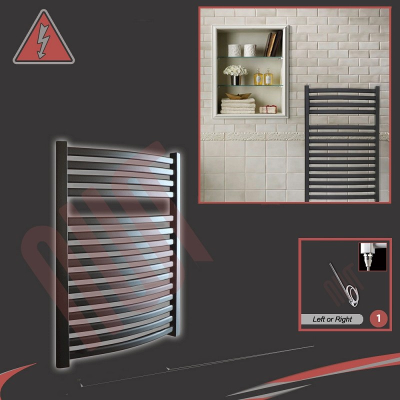 600mm x 800mm Single Heat Ellipse Black Towel Rail