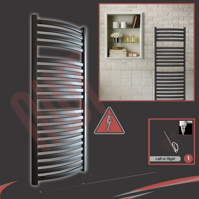 500mm (w) x 1100mm (h) Electric Ellipse Black Towel Rail (Single Heat or Thermostatic Option)