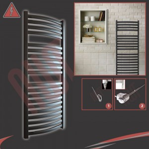 "500mm (w) x 1100mm (h) Electric ""Ellipse"" Black Towel Rail (Single Heat or Thermostatic Option)"