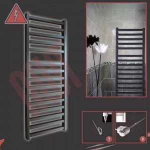 "500mm (w) x 1165mm (h) Electric ""Denbigh"" Black Towel Rail (Single Heat or Thermostatic Option)"