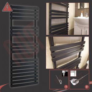 """500mm (w) x 1200mm (h) Electric """"Castell"""" Black Towel Rail (Single Heat or Thermostatic Option)"""