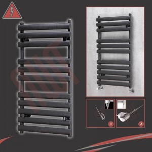"500mm(w) x 930mm(h)Electric ""Brecon"" Black Oval Tube Towel Rail (Single Heat or Thermostatic Option)"