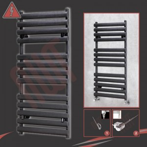 """500mm(w) x 1200mm(h)Electric """"Brecon"""" Black Oval Tube Towel Rail (Single Heat or Thermostatic Option)"""