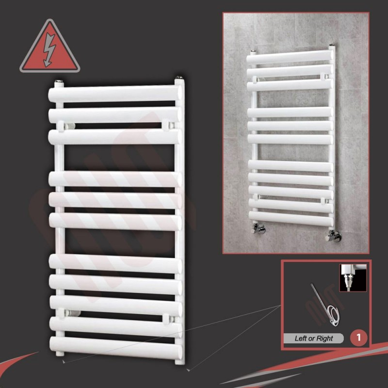 "500mm(w) x 930mm(h) Electric ""Brecon"" White Oval Tube Towel Rail (Single Heat or Thermostatic Option)"