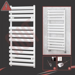 """500mm(w) x 1200mm(h)Electric """"Brecon"""" White Oval Tube Towel Rail (Single Heat or Thermostatic Option)"""