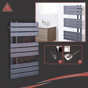 "500mm (w) x 800mm (h) Electric ""Apollo"" Anthracite Heated Towel Rail (Single Heat or Thermostatic Option)"