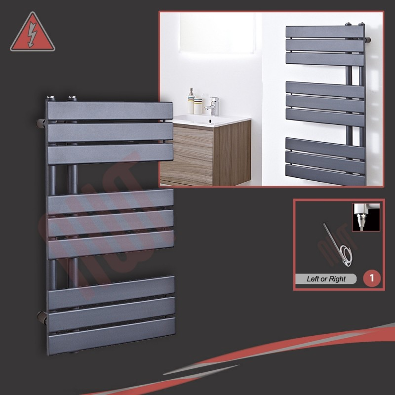 """500mm (w) x 800mm (h) Electric """"Apollo"""" Anthracite Heated Towel Rail (Single Heat or Thermostatic Option)"""