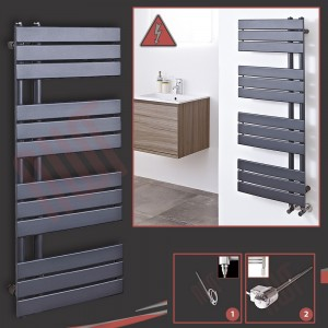 "500mm (w) x 1200mm (h) Electric ""Apollo"" Anthracite Heated Towel Rail (Single Heat or Thermostatic Option)"
