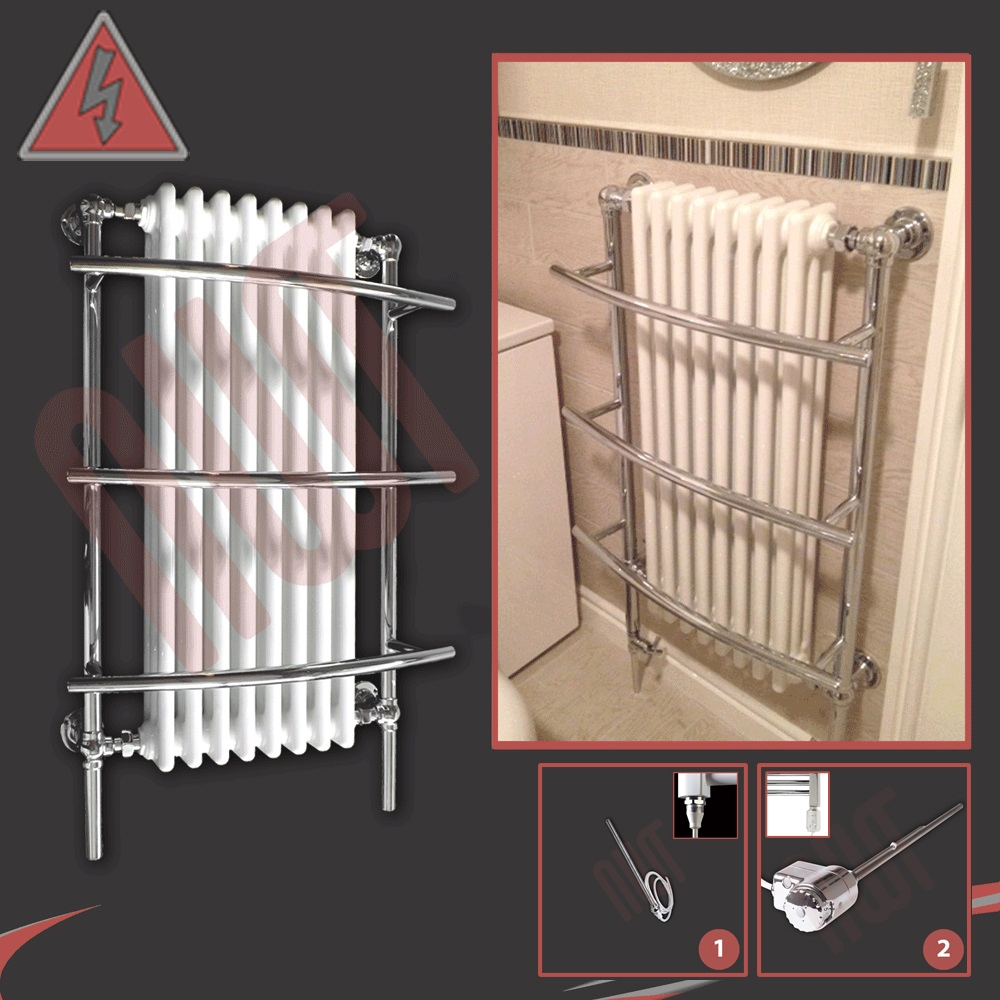 Sale white amp black designer heated towel rails bathroom radiators - 635mm W X 1000mm H Electric Tranmere Traditional Towel Rail Single Heat Or Thermostatic Option Nwt Direct