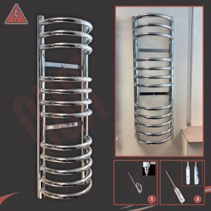 "300mm (w) x 900mm (h) Electric ""Buckley"" Chrome Towel Rail (Single Heat or Thermostatic Option)"
