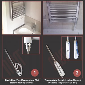 300mm (w) x 1200mm (h) Electric Buckley Chrome Towel Rail (Single Heat or Thermostatic Option)