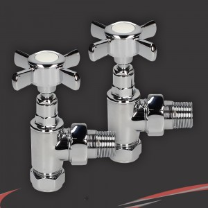 "Angled Chrome Traditional ""Cross Head"" Valves for Radiators & Towel Rails (Pair)"