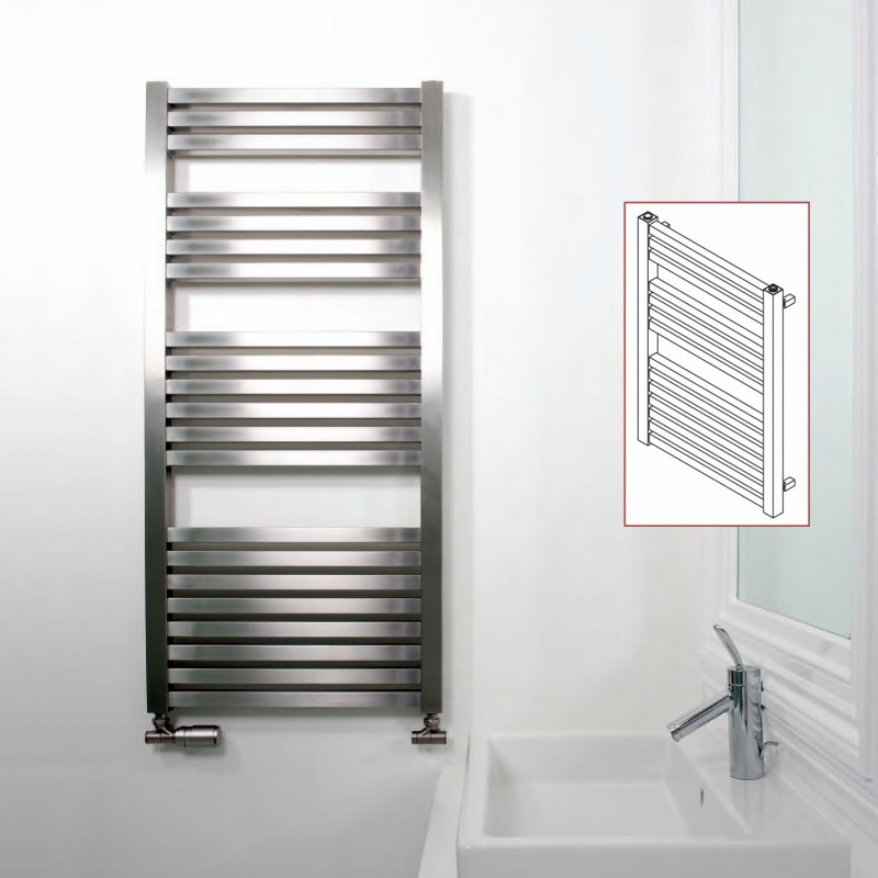 "Aeon ""Serif"" Designer Brushed Stainless Steel Towel Rails (3 Sizes)"
