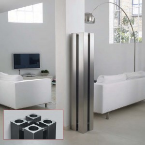 "Aeon ""Stanza"" Designer Brushed Stainless Steel Free Standing Radiators (3 Sizes)"