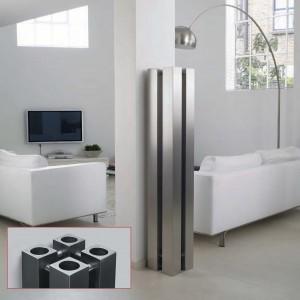 "Aeon ""Stanza"" Designer Brushed Stainless Steel Free Standing Radiators (3 Sizes)"