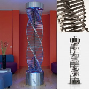 "Aeon ""Speira"" 510mm (w) x 2400-2750mm (Adjustable) Designer Brushed Stainless Steel Free Standing Radiators (2 Sizes)"