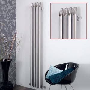 "Aeon ""Bamboo"" Designer Brushed Stainless Steel Radiator (6 Sizes)"