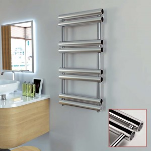 "Aeon ""Tubo"" Designer Brushed & Polished Stainless Steel Towel Rails (4 Sizes)"