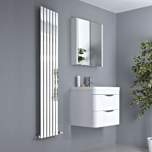 "Ultraheat ""Linear"" Vertical Chrome Single Flat Panel Radiators (9 Sizes)"