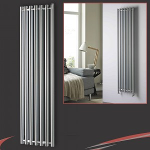 "390mm (w) x 1760mm (h) ""Titan"" Curved Chrome Vertical D-Profile Designer Radiator"